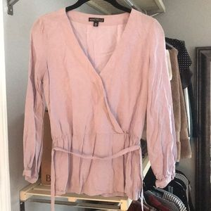 Lavender blouse with a belt
